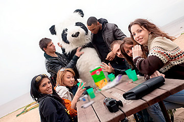 Real college sex party with a Panda-boy